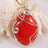 Wire Wrapped Stone Pendant, Red Dragon Vein Agate, Handmade Jewelry