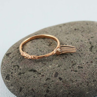 Pink Gold CZ Fork Ring by tooriginal on Etsy