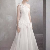 One-Shoulder Basket-Weave Organza Gown - David&#x27;s Bridal