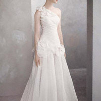 One-Shoulder Basket-Weave Organza Gown - David's Bridal
