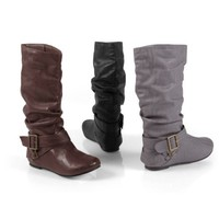 Brinley Co Womens Slouchy Flat Boot with Side Buckle
