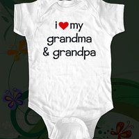 i love my grandma &amp; grandpa - funny saying printed on Infant Baby Onesuit, Infant Tee, Toddler T-Shirts