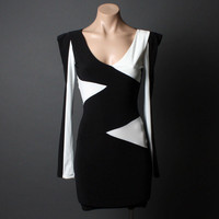 Color Block Bold Women Black White Bodycon Evening Clubwear Mini Dress | 53384