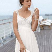 Chiffon Gown with Ruched Bodice and Beaded Straps - David's Bridal