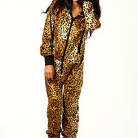 Carrie Leopard Print Velour Hooded Onesuit