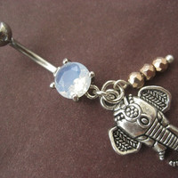 Elephant Belly Button Ring Faceted Pyrite Charm by Azeetadesigns