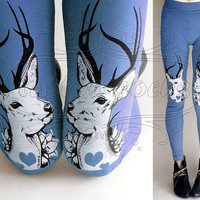 L blue Oh Deer cotton hand printed skinny leggings / footless tights