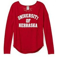 University of Nebraska Burnout Long-sleeve Drapey Tee - Victorias Secret PINK - Victoria's Secret