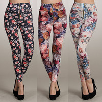 High Waist Floral Zipper...