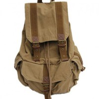 Khaki Canvas Backpack Bag with Pin Buckle Belt Detail