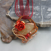 Wire Wrapped Valentine Pendant in Copper, Wire Wrapped Pendant, studiodct