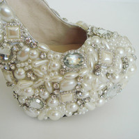 Handmade Super high heels crystal and pearl shoes by Creativesugar