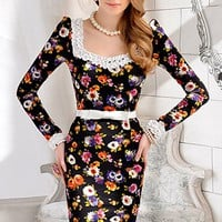 OASAP - Sunshine Maid's Long Sleeve Dress with Floral Patches - Street Fashion Store