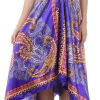 Paisley Print Satin Pleated V-Neck Halter Handkerchief Hem Maxi / Long Dress ( 2 Colors )