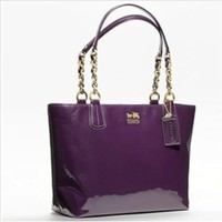 Coach Madison Patent Leather Zip Tote Bag 20484 Aubergine Purple