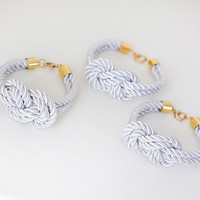 Bridesmaid Wedding Set of 3 Nautical Silk cord White by pardes