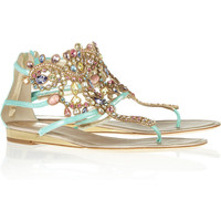 Ren Caovilla|Swarovski crystal-embellished suede sandals|NET-A-PORTER.COM
