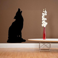 vinyl wall decal Wolf baying design by WallDecalsAndQuotes on Etsy