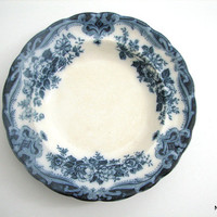Reserved for Gerassimos: Antique Flow Blue Soup Bowl Bourne & Leigh Kew Pattern