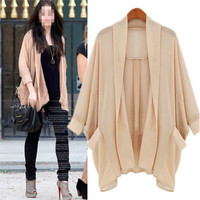 Fashion Women See-through Chiffon Cardigan Shirt Blouse Top