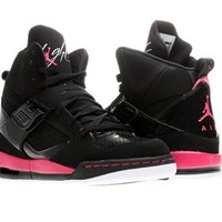 GIRLS JORDAN FLIGHT 45 HIGH (GS) BLACK/WHITE//VIVID PINK 524864-017