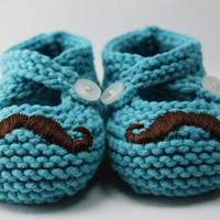 Mr Mustache Aqua Baby Booties by pleasantlyplumpknits on Etsy