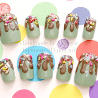 Kawaii nails, deco nails, greentea, Japanese, fake sweets, chocolate, dripping, sprinkles,