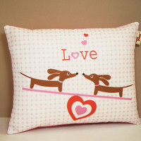 Dachshund Valentine Pillow Teetering Doxies by persnicketypelican
