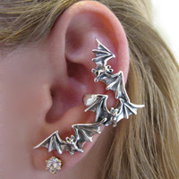 Flock of Bats Ear Cuff Silver by martymagic on Etsy