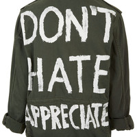 'Don't Hate Appreciate' Jacket - Jackets & Coats - Clothing - Topshop USA
