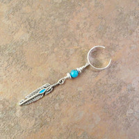 Turquoise and Feather Ear Cuff Single Dangle Earring Pierceless