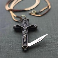 Pocket Knife Necklace Crucifix Cross Gold Brass by contrary
