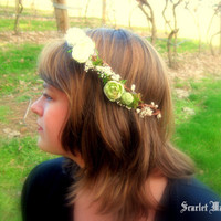 Floral vine mossy crown garden maiden by scarletmaiden on Etsy