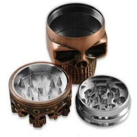 Crown Skull,,Herb Grinder,3 Parts,Herb Grinder With Pollen Catcher Free Bousne 5x Brass Pipe Screen