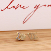 simple LO/VE stud earrings with crystals | girlsluv.it