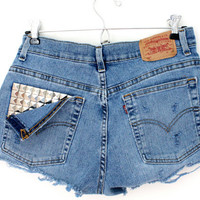 SALE - Silver Studded Levis Shorts