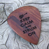 African Bubinga Wood Guitar Pick - Handmade Laser Engraved with 2 Sided Design