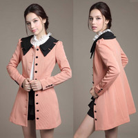 Sweety Women's Peter Pan Collar Single Breasted Long Outwear Top Trenchcoat