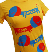 Weiner Dog TShirt Yellow DACHSHUND Shirt by emandsprout on Etsy
