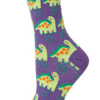 Purple Big Dinosaur Socks