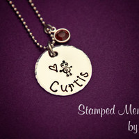 Robot Name Necklace - Hand Stamped with Birthstone Jewelry - Kid's Handwriting - Personalized Gift for Mom or Grandma