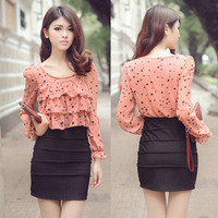 Fashion Korean Womens Long Sleeve Chiffon Dot Mini Dress Ruched Skirts Lovely