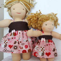 Valentine Dress Set for 10&quot; and 15&quot; Waldorf Dolls, Sibling Sisters Clothes Pink Brown Dots XOXO - 2 Robes poupe - Ready to ship