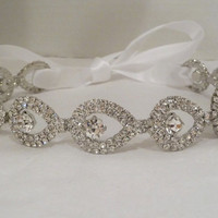 Bridal Rhinestone Headband Teardrop ATHENA  by BellaCescaBoutique