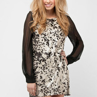 Snake Sequin Dress in Black :: tobi