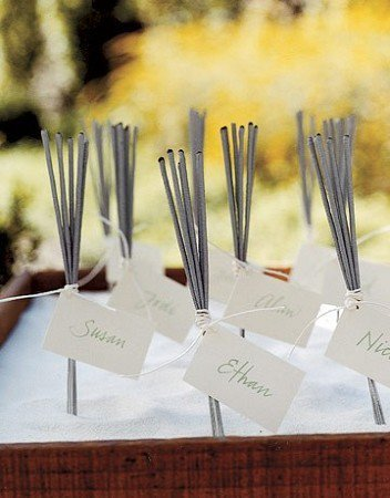 Weddings on the Brain / Sparkler place cards