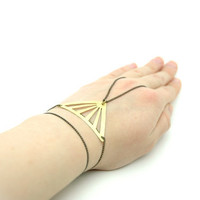 Geometric Hammered Diamond Triangle Hand Chain Bracelet - Black Brass Hand Chain - Hand Piece -  Modern Yellow  Brass Jewelry
