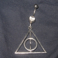 Silver Tone Harry Potter Inspired Deathly Hollows 14 gauge CZ Belly Ring