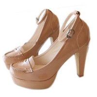 Patent Leather Upper High Heel Closed-toes With Ankle Strap Fashion Shoes - $38.67