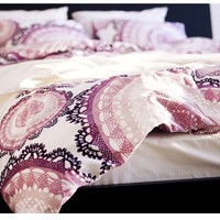 Ikea Lyckoax Duvet Cover and 2 Pillowcases Set, White, Lilac Full/queen